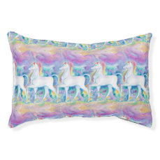 Watercolor Unicorns Pet Bed