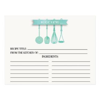 Watercolor Utensils Bridal Shower Recipe Cards