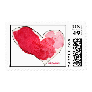 Watercolor Valentine Hearts Postage