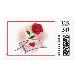 """Watercolor """"Valentine Rose & Heart"""" Postage"""