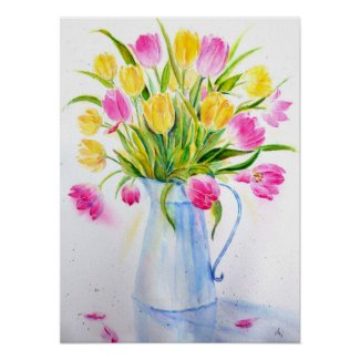 Watercolor Vase of Tulips Poster