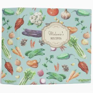Watercolor Veggies & Spices Pattern Binder