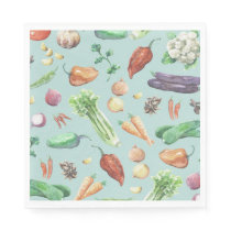 Watercolor Veggies & Spices Pattern Napkin