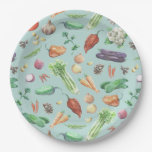 Watercolor Veggies & Spices Pattern Paper Plate at Zazzle