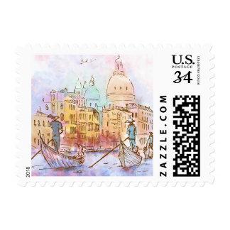 Watercolor venecia illustration postage
