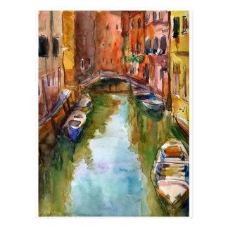Watercolor Venice Painting Postcard
