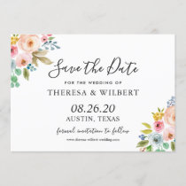 Watercolor Vibrant Floral Wedding Save the Date