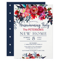 Watercolor vibrant red floral housewarming party invitation