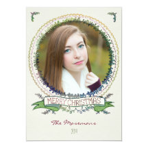 Watercolor Vines Photo Christmas Card