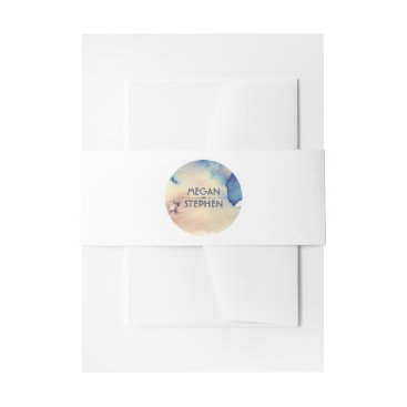 Beach Themed Watercolor Vintage Beach Wedding Invitation Belly Band