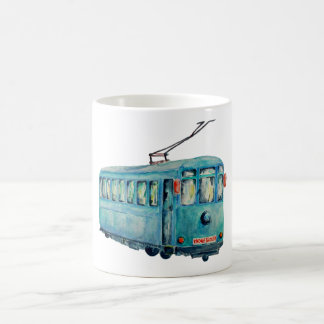 Watercolor Vintage Blue Trolley Car Mug