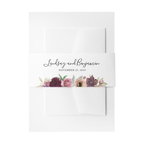 Watercolor Vintage Blush and Burgundy Wedding Invitation Belly Band