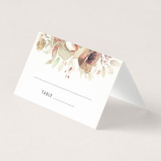 Watercolor Vintage Fall Floral Wedding Place Card