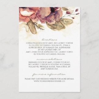 Watercolor Vintage Floral Wedding Information Enclosure Card