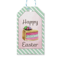 Watercolor vintage Happy Easter cake slice Gift Tags