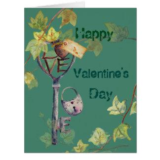 Watercolor Vintage Key Lock Ivy Valentine Card
