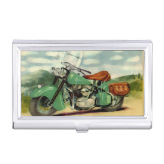 Watercolor Vintage Motorcycle Business Card Case