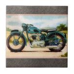 Watercolor Vintage Motorcycle Ceramic Tile