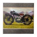 Watercolor Vintage Motorcycle Ceramic Tiles