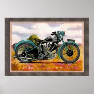 Watercolor Vintage Motorcycle Poster