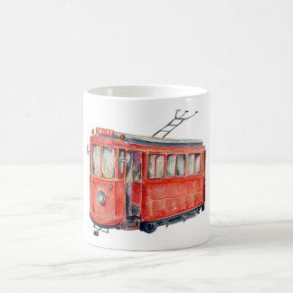 Watercolor Vintage Red Trolley Car Mug