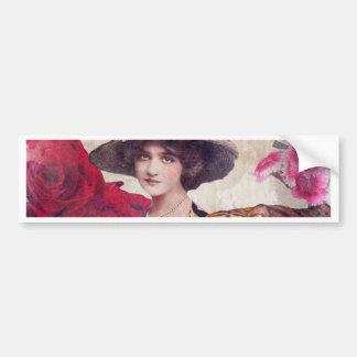 Watercolor Vintage Tiger Woman Flowers Bumper Sticker