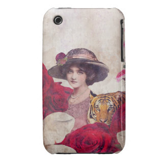 Watercolor Vintage Tiger Woman Flowers Case-Mate iPhone 3 Case