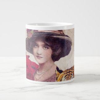 Watercolor Vintage Tiger Woman Flowers Giant Coffee Mug