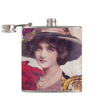 Watercolor Vintage Tiger Woman Flowers Hip Flask