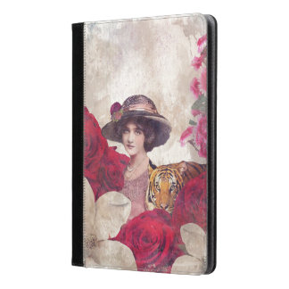 Watercolor Vintage Tiger Woman Flowers iPad Air Case