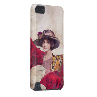 Watercolor Vintage Tiger Woman Flowers iPod Touch 5G Cover
