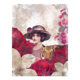 Watercolor Vintage Tiger Woman Flowers Letterhead