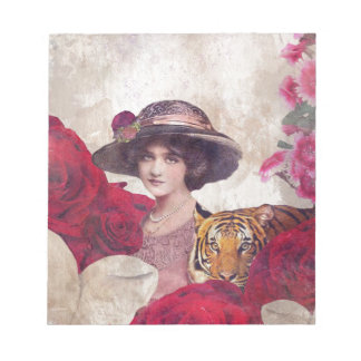 Watercolor Vintage Tiger Woman Flowers Notepad