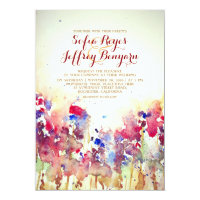 Watercolor Vintage Wedding Invite - Meadow Flowers