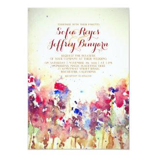 Watercolor Vintage Wedding Invite - Meadow Flowers