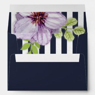 Watercolor violet flower, stripes A7 Greeting Card Envelope