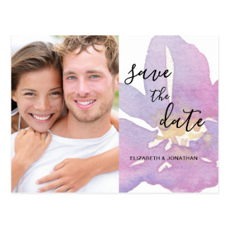 Watercolor Violet Lavender Photo Save The Date Postcard
