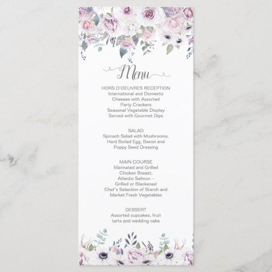 Watercolor Violet & Pink Roses Greenery Wedding Menu