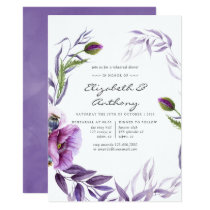 Watercolor Violet Poppy Floral Rehearsal Dinner Invitation