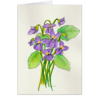 Watercolor Violets Easter Card