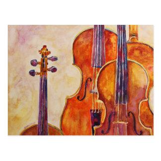 Watercolor Violins Postcard