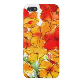 Watercolor Wallflowers Bright Red Orange and White iPhone SE/5/5s Case