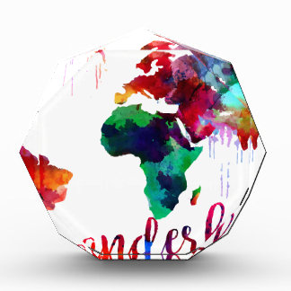 Watercolor Wanderlust World Map Acrylic Award
