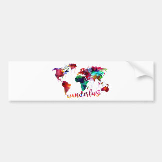Watercolor Wanderlust World Map Bumper Sticker