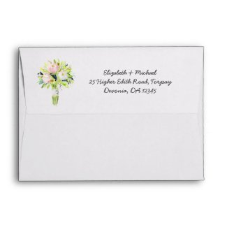 Watercolor Wash Blue Wedding Return Envelopes