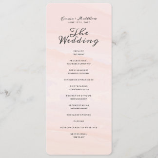 Watercolor Wash | Blush Wedding Program