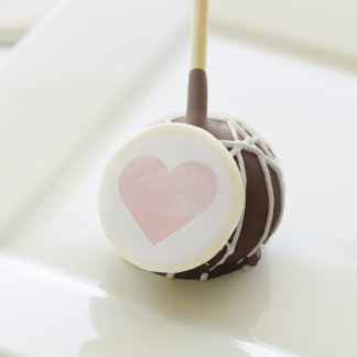 Watercolor Wash Heart Cake Pops in Blush Pink