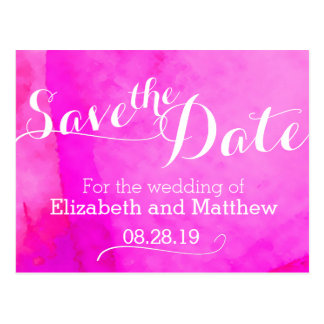 Watercolor wash painted pink save the date card post card