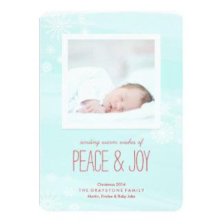 Watercolor Wash Peace & Joy Christmas Holiday Card Invitations