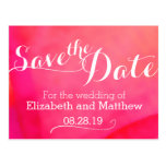 Watercolor wash red pink save the date card